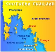 Location of Ko Lanta Island, Thailand